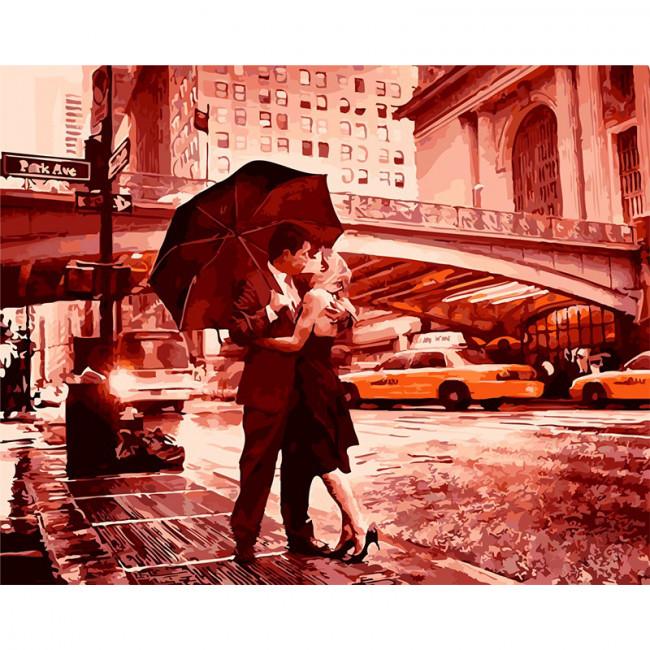 Kit pictura pe numere cu orase, Kissing in the Rain