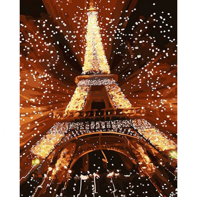 Kit pictura pe numere cu orase, Eiffel Tower Lighted