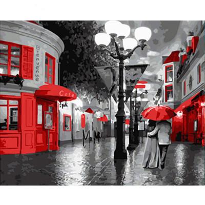 Kit pictura pe numere cu orase, Colors in a black & white world
