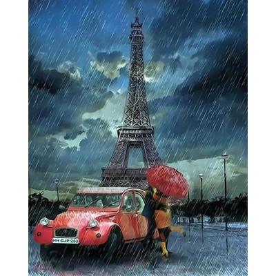 Kit pictura pe numere cu orase, Kiss in the rain