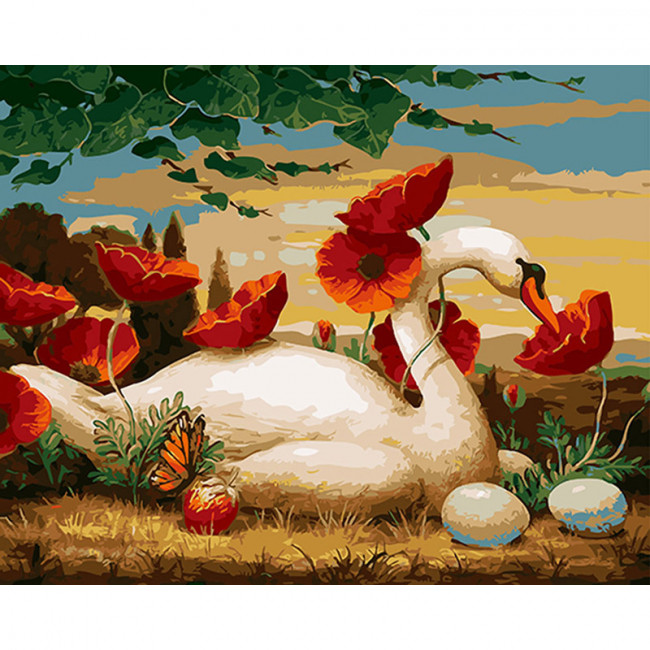 Kit pictura pe numere cu pasari, Sublime Swan