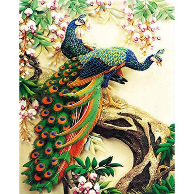 Kit pictura pe numere cu pasari, Amazing Peacocks