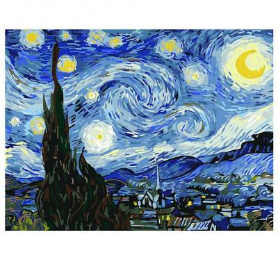 Kit pictura pe numere cu personalitati si picturi celebre, Van Gogh's Starry Night