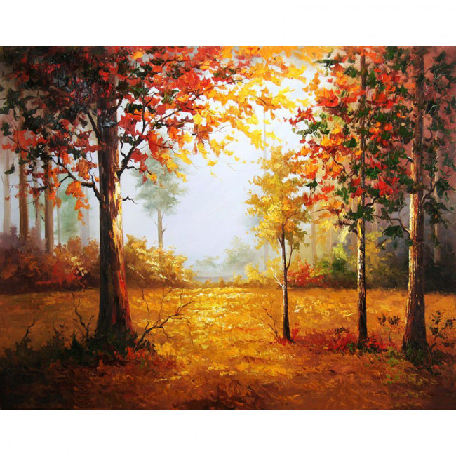 Kit pictura pe numere cu peisaje, Fall Forest