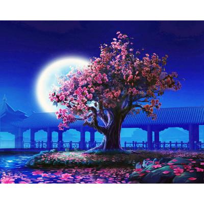 Kit pictura pe numere cu peisaje, Cherry Blossom Tree