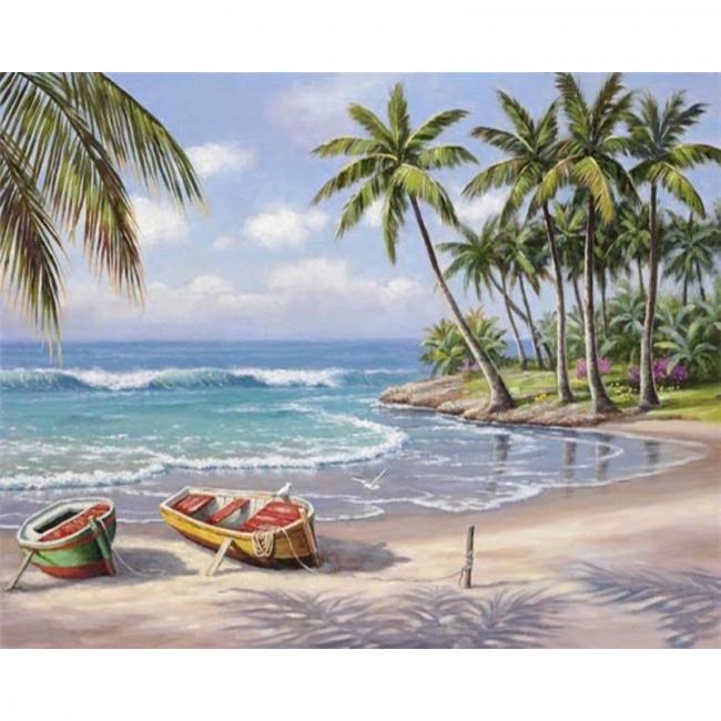 Kit pictura pe numere cu peisaje, Boats on Shore