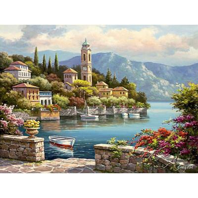Kit pictura pe numere cu peisaje, Seaside Little Town