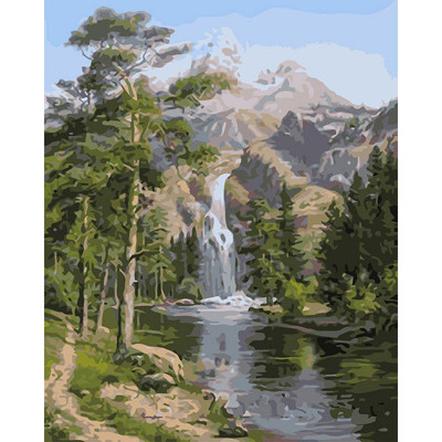 Kit pictura pe numere cu peisaje, Four Seasons, Forest Waterfall