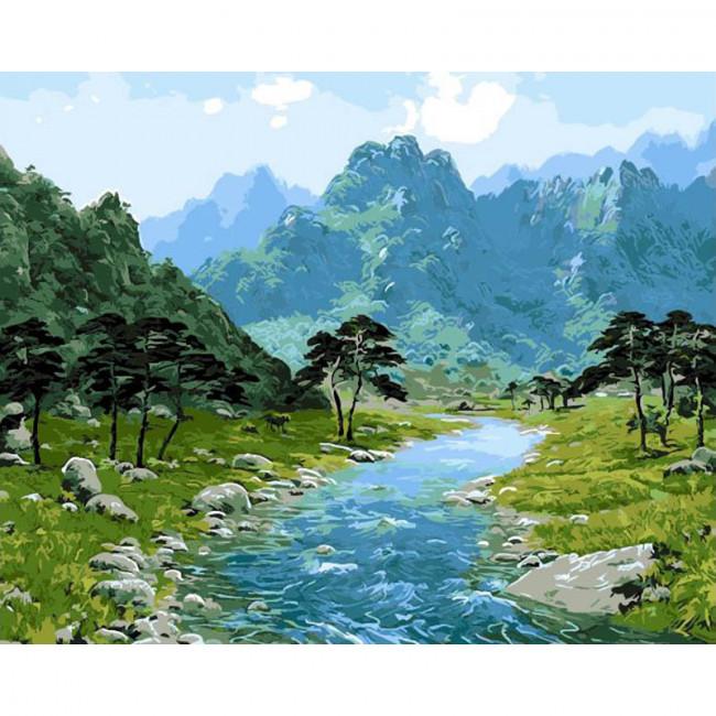 Kit pictura pe numere cu peisaje, Mountain Scene