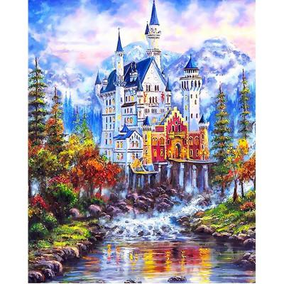 Kit pictura pe numere cu peisaje, Fairytale Castle