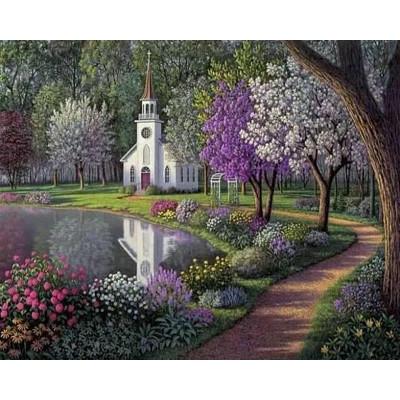 Kit pictura pe numere cu peisaje, Church Garden
