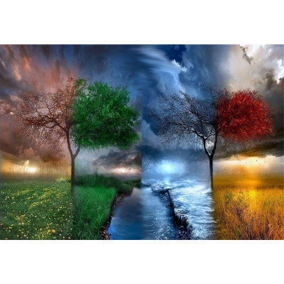 Kit pictura pe numere cu peisaje, Four Seasons, One Painting