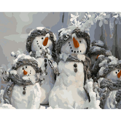 Kit pictura pe numere cu iarna, Happy Snowmen