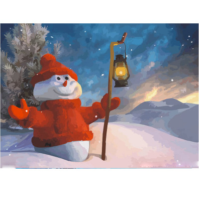 Kit pictura pe numere cu iarna, Big Hearted Snowman