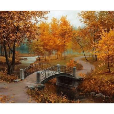Kit pictura pe numere cu peisaje, Orange autumn