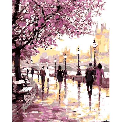 Kit pictura pe numere cu peisaje, Violet Dreams