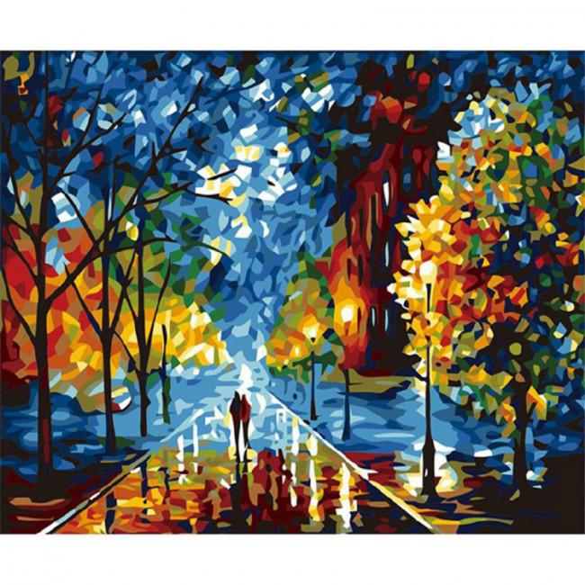 Kit pictura pe numere cu peisaje, Boulevard of Always Autumn