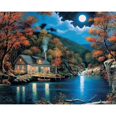 Kit pictura pe numere cu peisaje, Full Moon