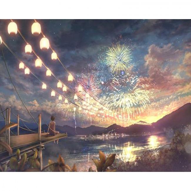 Kit pictura pe numere cu peisaje, Fireworks over the River