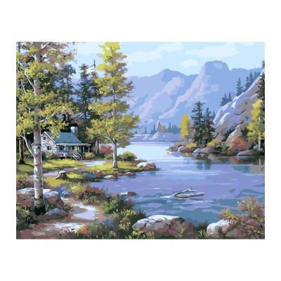 Kit pictura pe numere cu peisaje, Cabin of Silence
