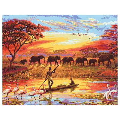 Kit pictura pe numere cu peisaje, Jungle Survivors