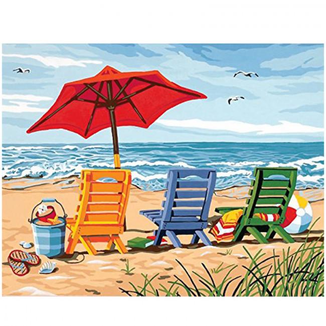 Kit pictura pe numere cu peisaje, Seaside but No Rest
