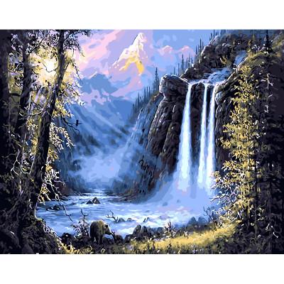 Kit pictura pe numere cu peisaje, Mountain Waterfall