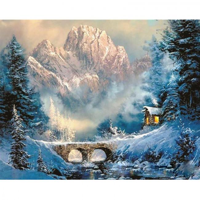 Kit pictura pe numere cu iarna, Cold Outside, Cozy Inside
