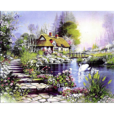 Kit pictura pe numere cu peisaje, Swan Family