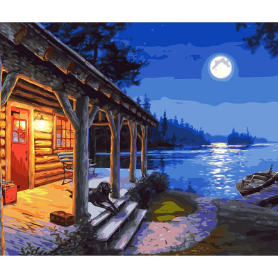 Kit pictura pe numere cu peisaje, The Hunter's Cabin