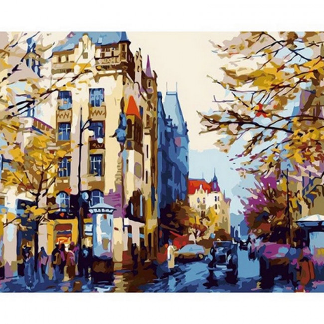Kit pictura pe numere cu peisaje, Autumn in the city