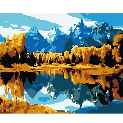 Kit pictura pe numere cu peisaje, Montainous landscape