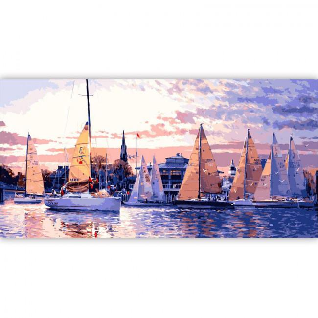 Kit pictura pe numere cu peisaje, Boats