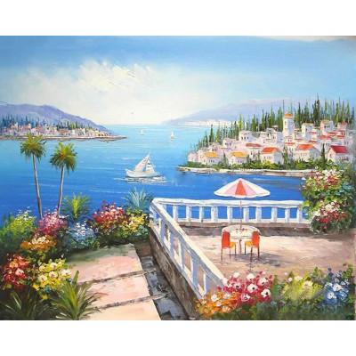 Kit pictura pe numere cu peisaje, The little blue paradise