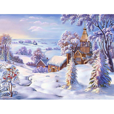 Kit pictura pe numere cu iarna, Village at Peace