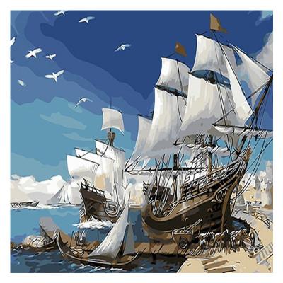 Kit pictura pe numere cu vapoare, Ready for sailing?