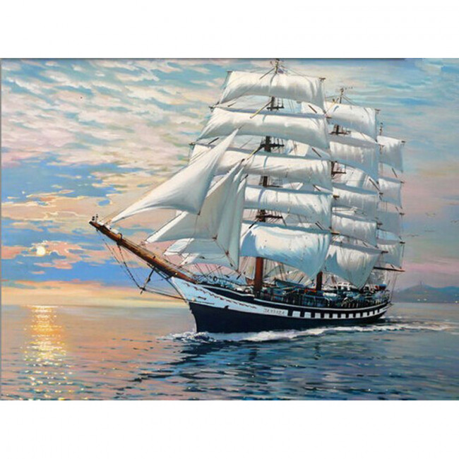 Kit pictura pe numere cu vapoare, Sailing Towards Happy Land