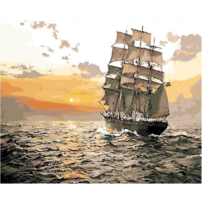 Kit pictura pe numere cu vapoare, At Sunrise
